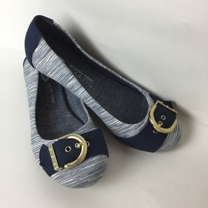 Dr. Scholls Chambray Buckle Flats Size 7